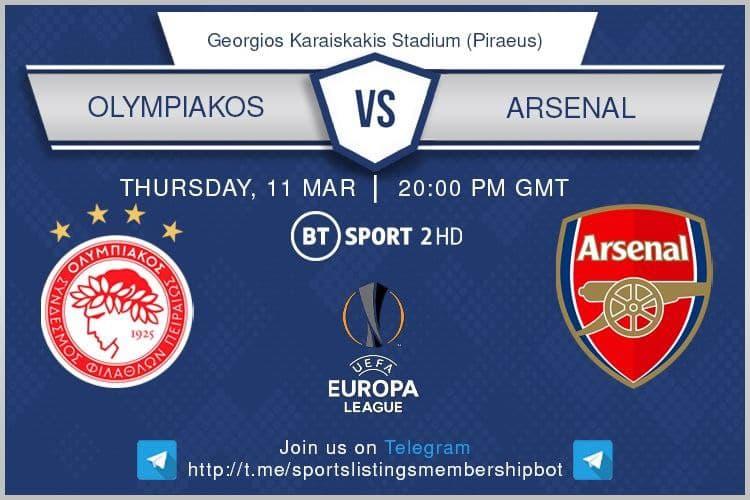 Europa League 11/3/2021 Olympiakos v Arsenal