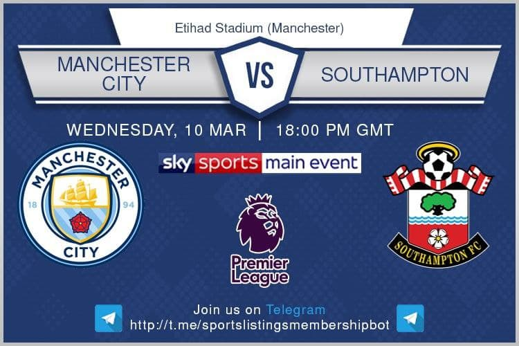 Manchester City v Southampton - beIN Sport 3 English / DAZN / Optus Sport 3