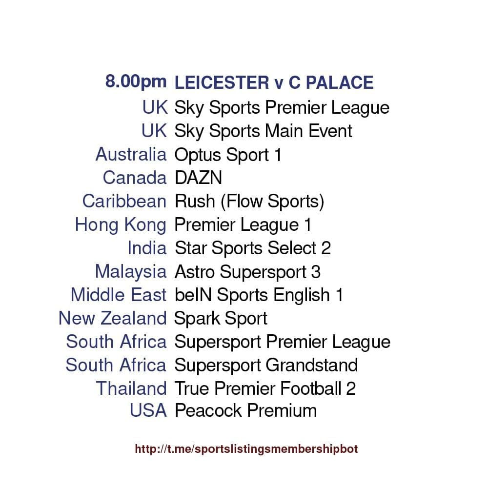 Premier League 26/4/2021 - Leicester City v Crystal Palace detailed