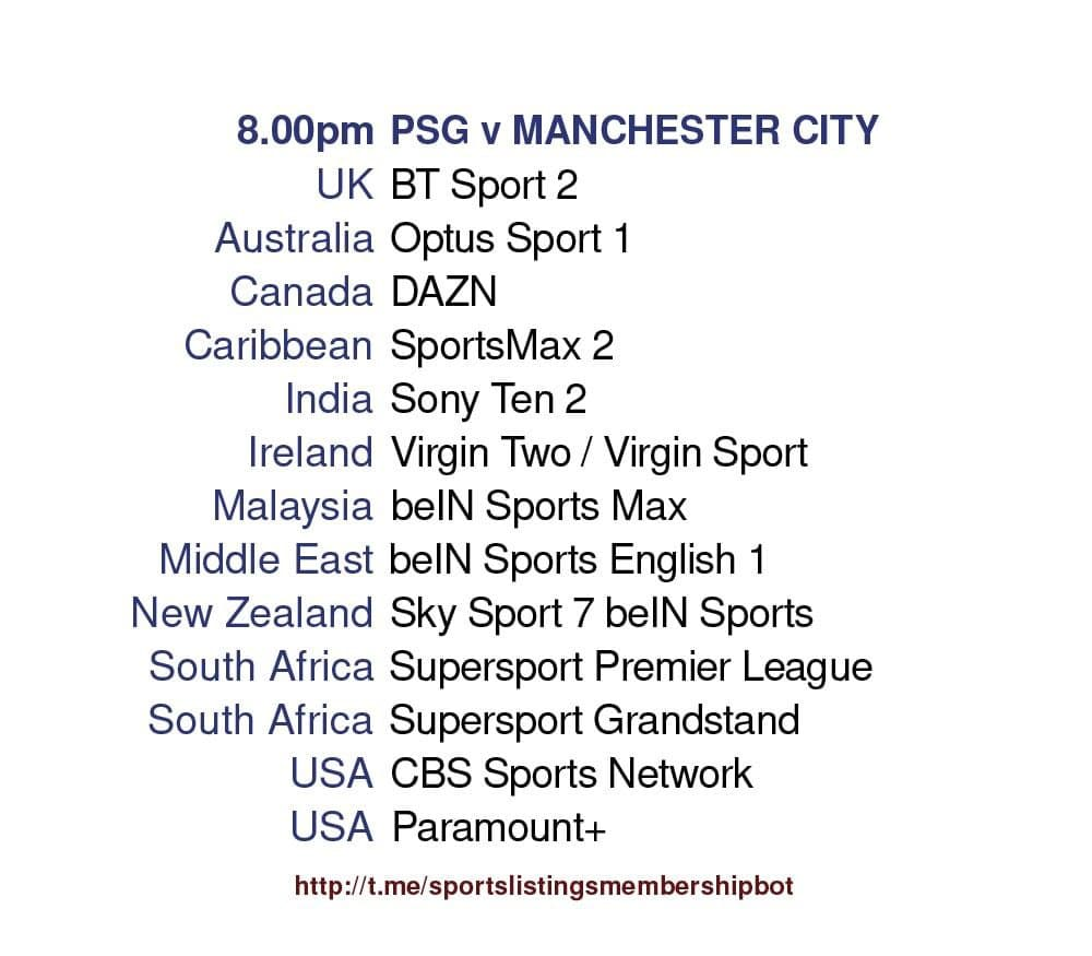 Champions League 28/4/2021 - PSG v Manchester City detailed