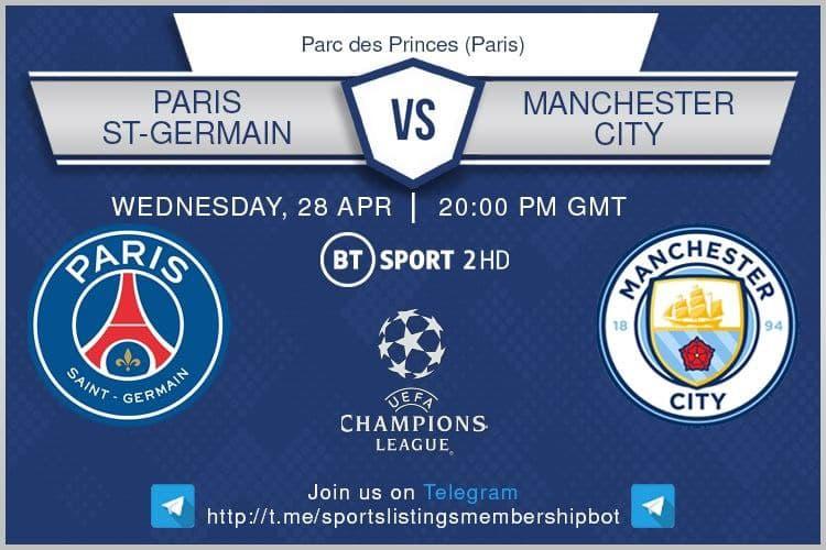 Champions League 28/4/2021 - PSG v Manchester City.