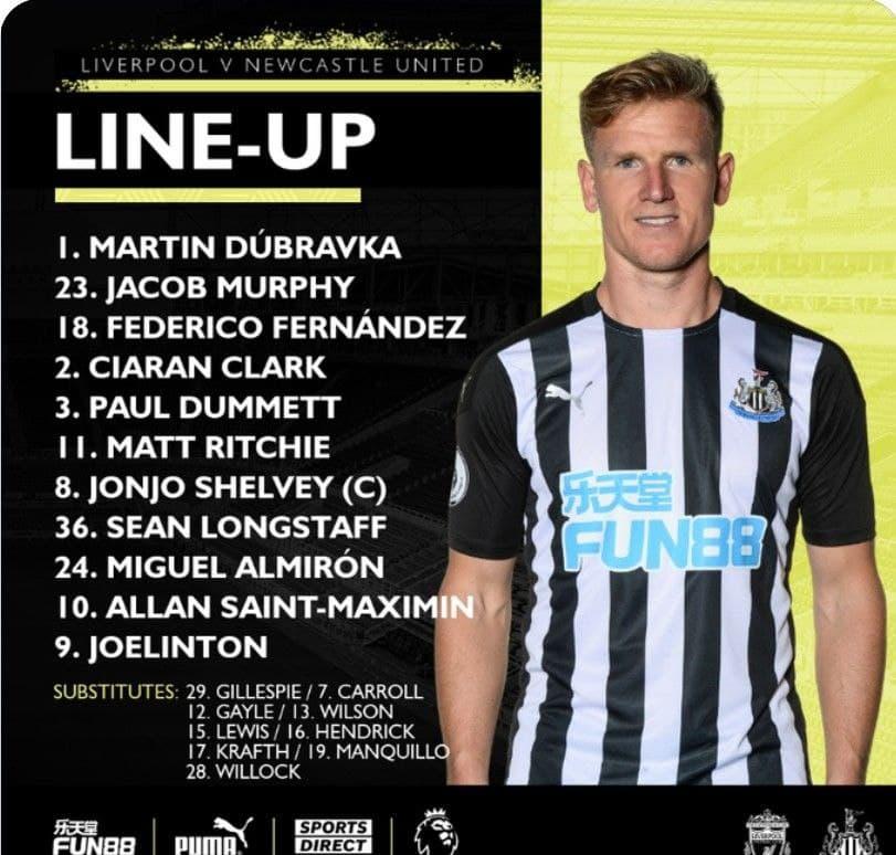 Premier League 24/4/2021 Newcastle Line-up