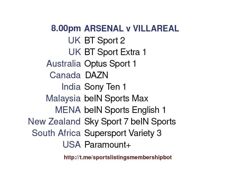 Europa League 6/5/2021 - Arsenal v Villareal detailed