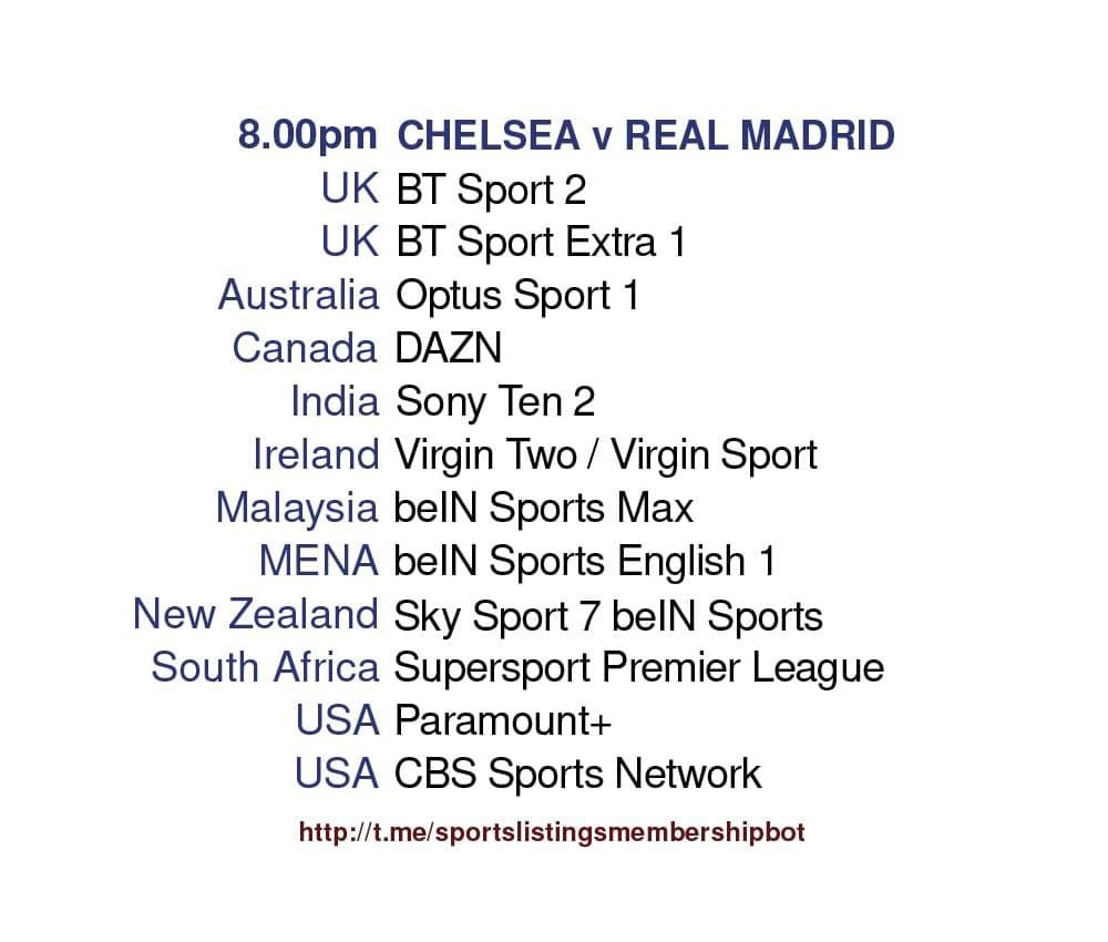 Champions League 5/5/2021 - Chelsea v Real Madrid
