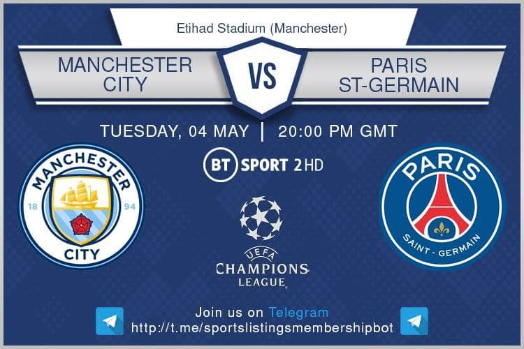 Champions League 4/5/2021 -Manchester City v Paris St-Germain.